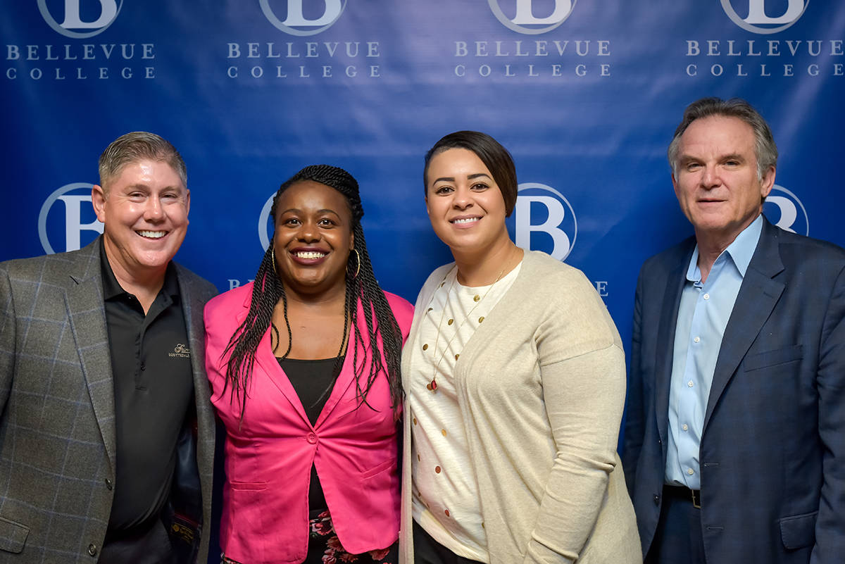 This year, the Bellevue College Foundation awarded 170 scholarships, for a total of $360,000! Among the recipients were students Quiniece Hubbard and Sharlene MacPherson, here with BC Foundation Board President Jim Chesemore and BC President Dr Jerry Weber. Photo by Alabastro Photography.