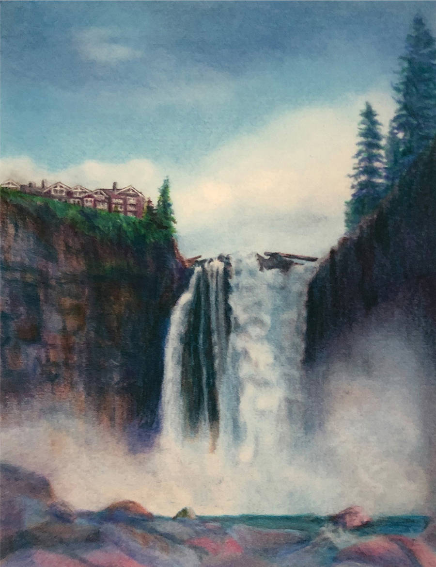 Snoqualmie Falls; Colored Pencil by Sally Rackets. Visit the Art Gallery of Sno Valley in downtown Snoqualmie to see impressive works of art from talented local artists.